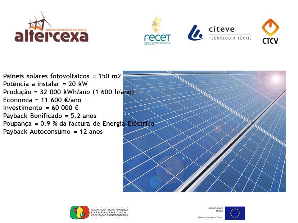 Paineis solares fotovoltaicos = 150 m2