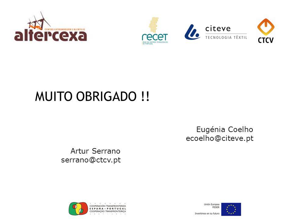 MUITO OBRIGADO !! Eugénia Coelho ecoelho@citeve.pt Artur Serrano