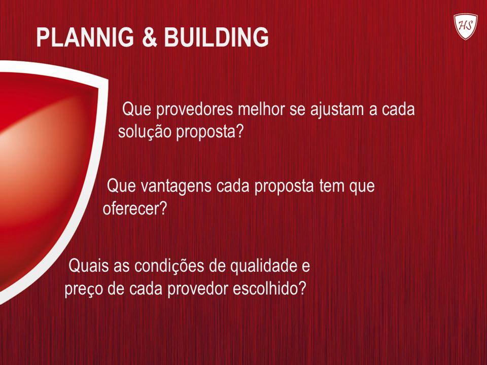 PLANNIG & BUILDING Que provedores melhor se ajustam a cada solução proposta Que vantagens cada proposta tem que oferecer