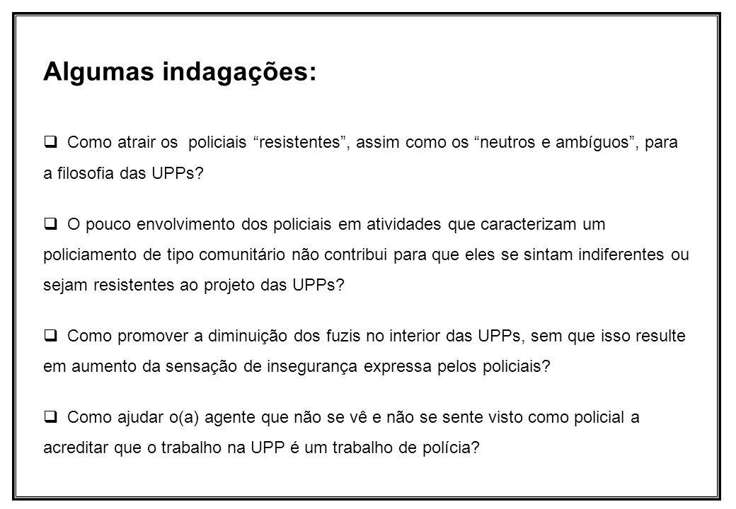 Algumas indagações: Como atrair os policiais resistentes , assim como os neutros e ambíguos , para a filosofia das UPPs