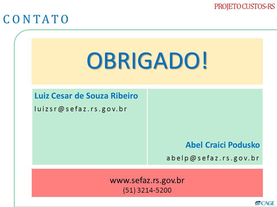 OBRIGADO! CONTATO Luiz Cesar de Souza Ribeiro Abel Craici Podusko