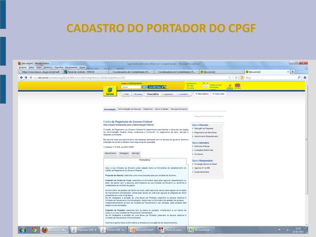 CADASTRO DO PORTADOR DO CPGF