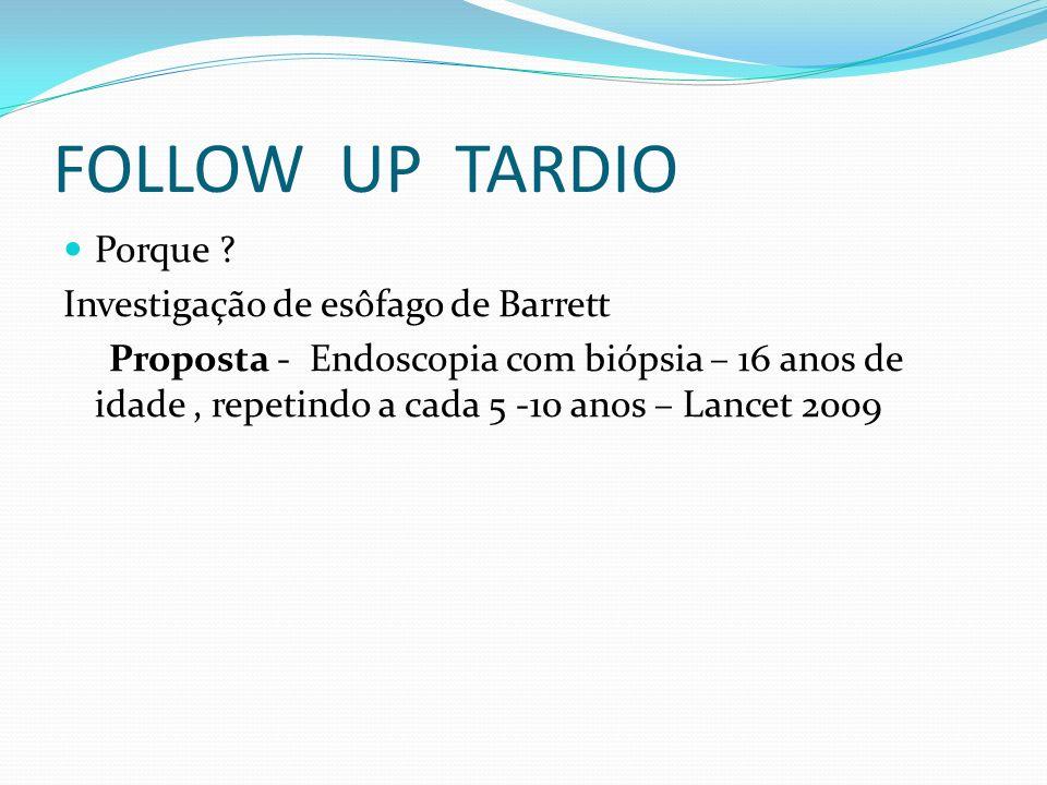 FOLLOW UP TARDIO Porque Investigação de esôfago de Barrett