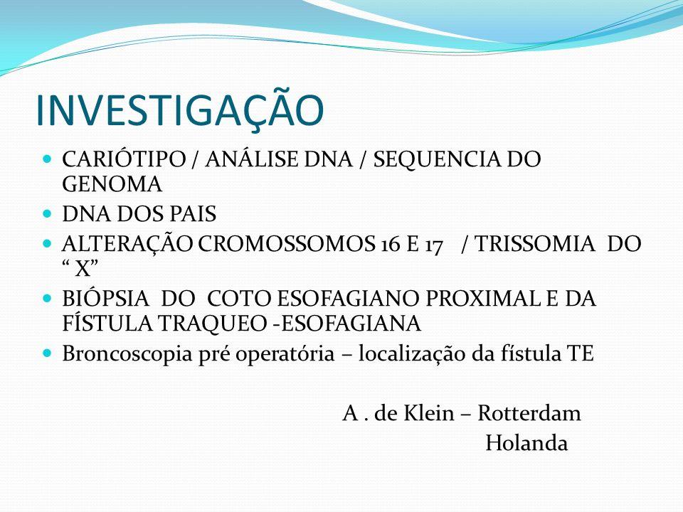 INVESTIGAÇÃO CARIÓTIPO / ANÁLISE DNA / SEQUENCIA DO GENOMA