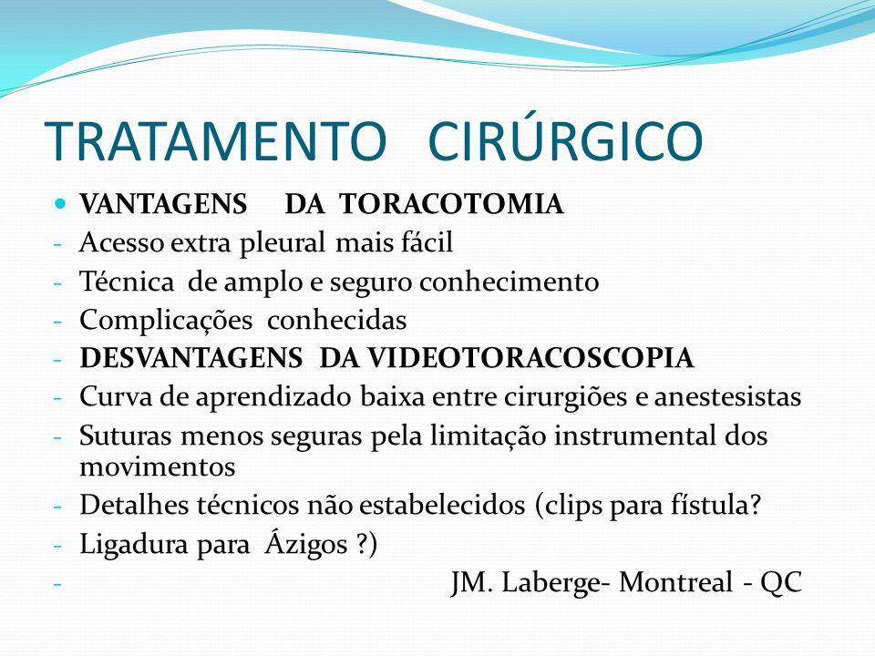 TRATAMENTO CIRÚRGICO VANTAGENS DA TORACOTOMIA