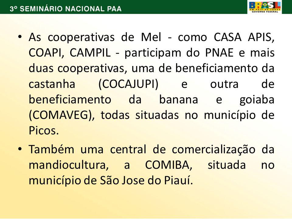 As cooperativas de Mel - como CASA APIS, COAPI, CAMPIL - participam do PNAE e mais duas cooperativas, uma de beneficiamento da castanha (COCAJUPI) e outra de beneficiamento da banana e goiaba (COMAVEG), todas situadas no município de Picos.