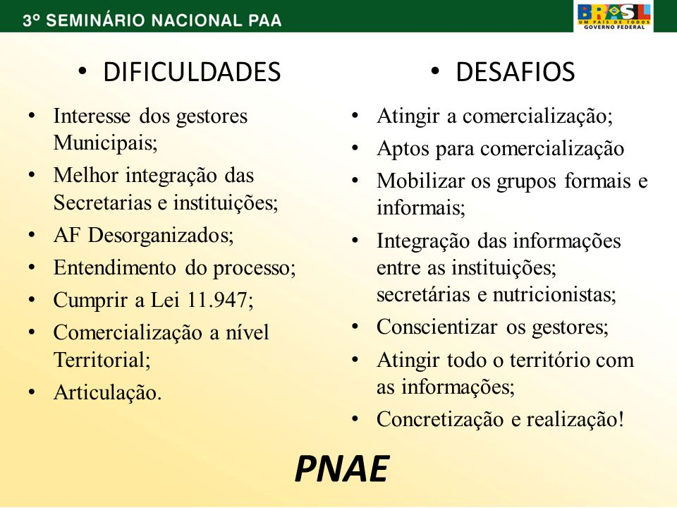 PNAE DIFICULDADES DESAFIOS Interesse dos gestores Municipais;
