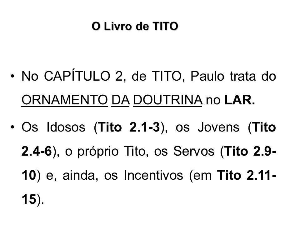 No CAPÍTULO 2, de TITO, Paulo trata do ORNAMENTO DA DOUTRINA no LAR.