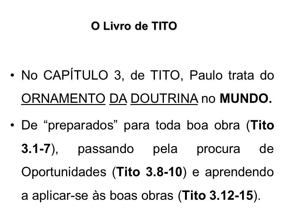 No CAPÍTULO 3, de TITO, Paulo trata do ORNAMENTO DA DOUTRINA no MUNDO.