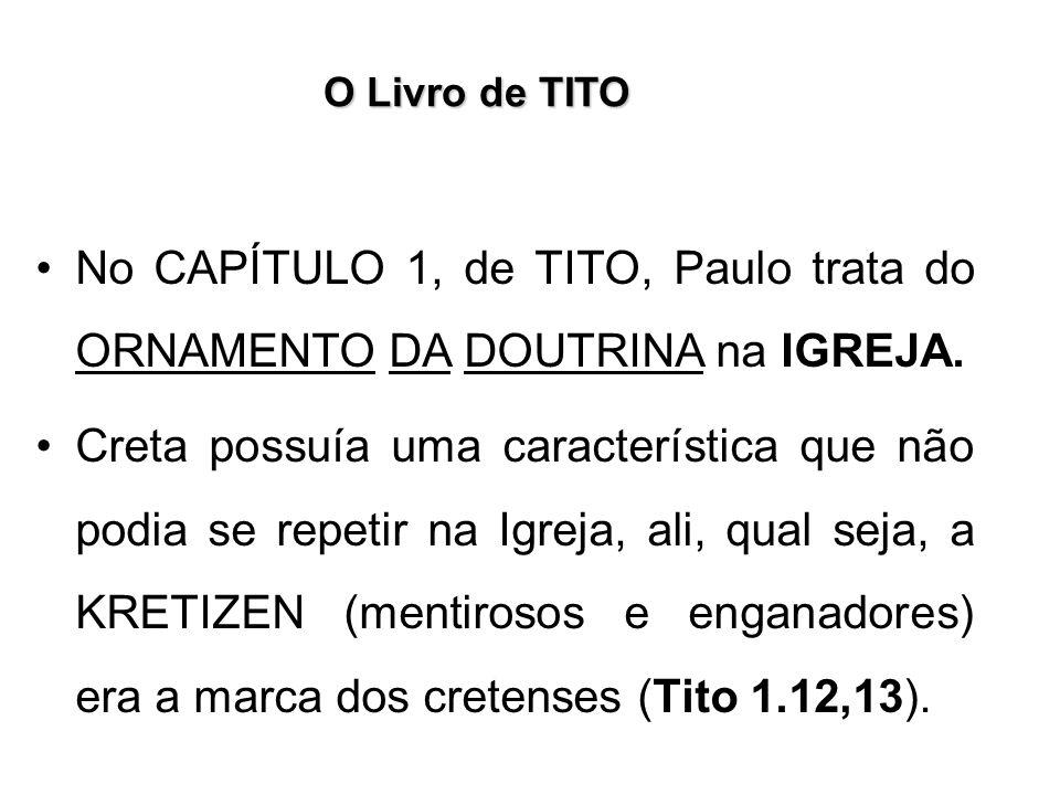 O Livro de TITO No CAPÍTULO 1, de TITO, Paulo trata do ORNAMENTO DA DOUTRINA na IGREJA.