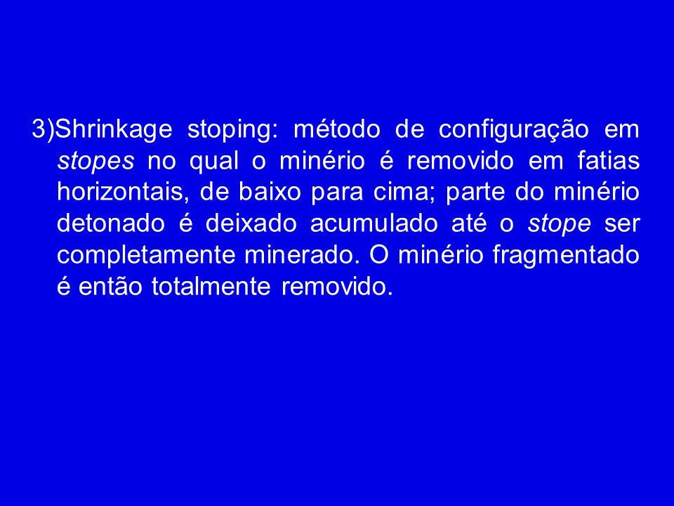 3)Shrinkage stoping: método de configuração em stopes no qual o minério é removido em fatias horizontais, de baixo para cima; parte do minério detonado é deixado acumulado até o stope ser completamente minerado. O minério fragmentado é então totalmente removido.