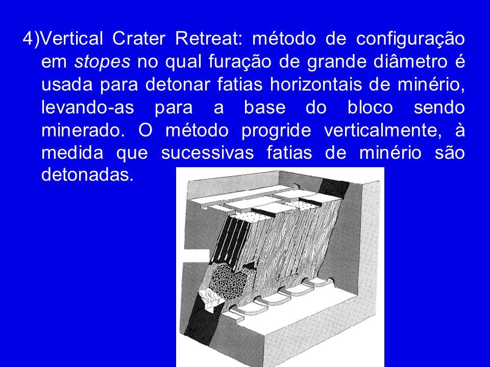 4)Vertical Crater Retreat: método de configuração em stopes no qual furação de grande diâmetro é usada para detonar fatias horizontais de minério, levando-as para a base do bloco sendo minerado.