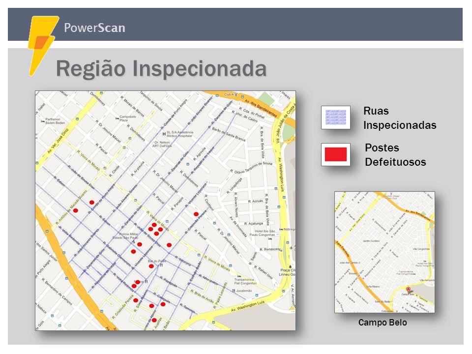 Região Inspecionada PowerScan Ruas Inspecionadas Postes Defeituosos