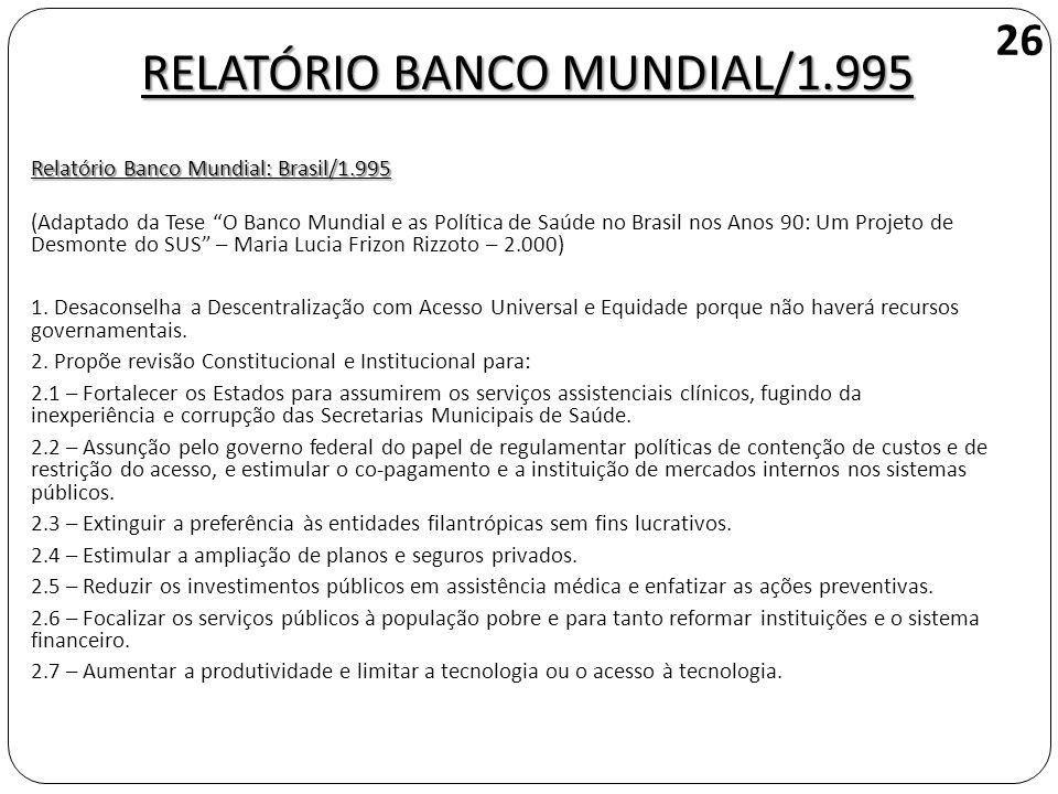 RELATÓRIO BANCO MUNDIAL/1.995