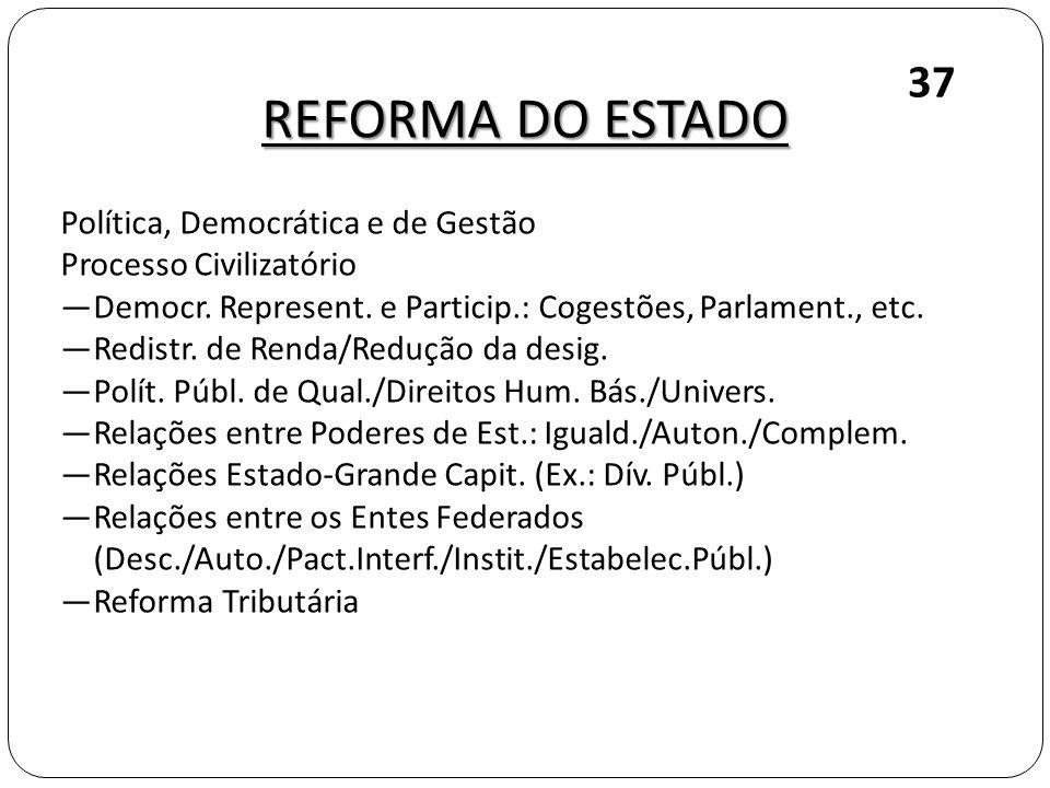 REFORMA DO ESTADO 37 Política, Democrática e de Gestão