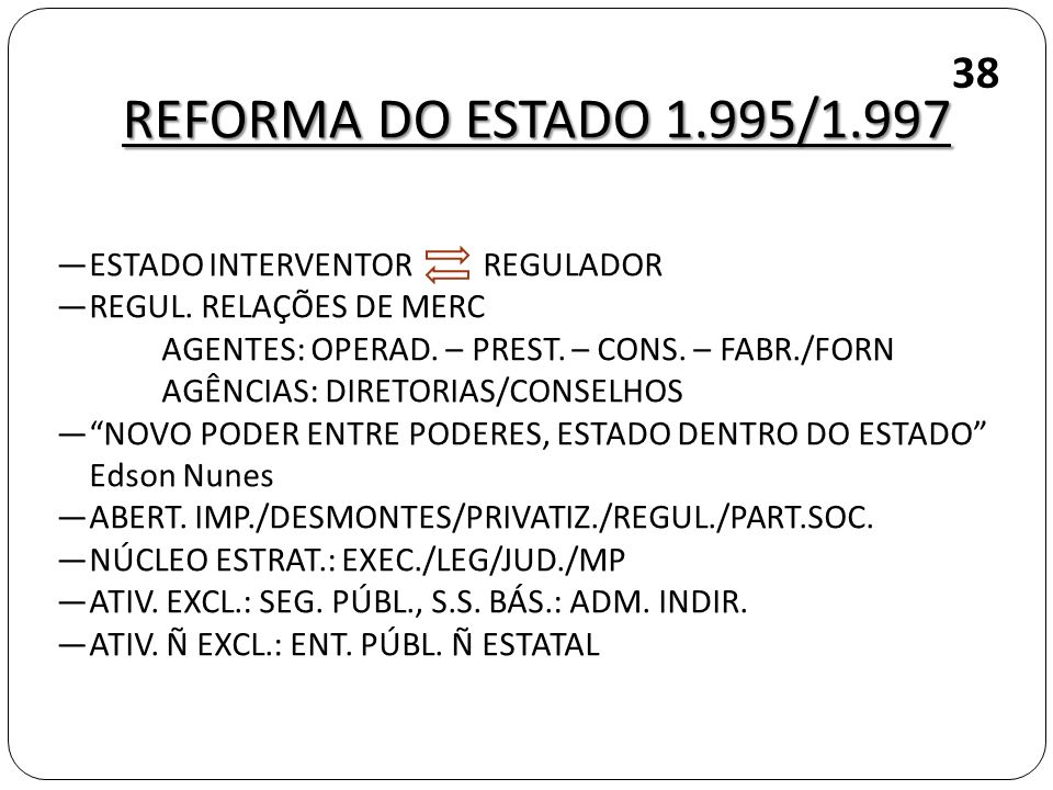 REFORMA DO ESTADO 1.995/1.997 38 ESTADO INTERVENTOR REGULADOR