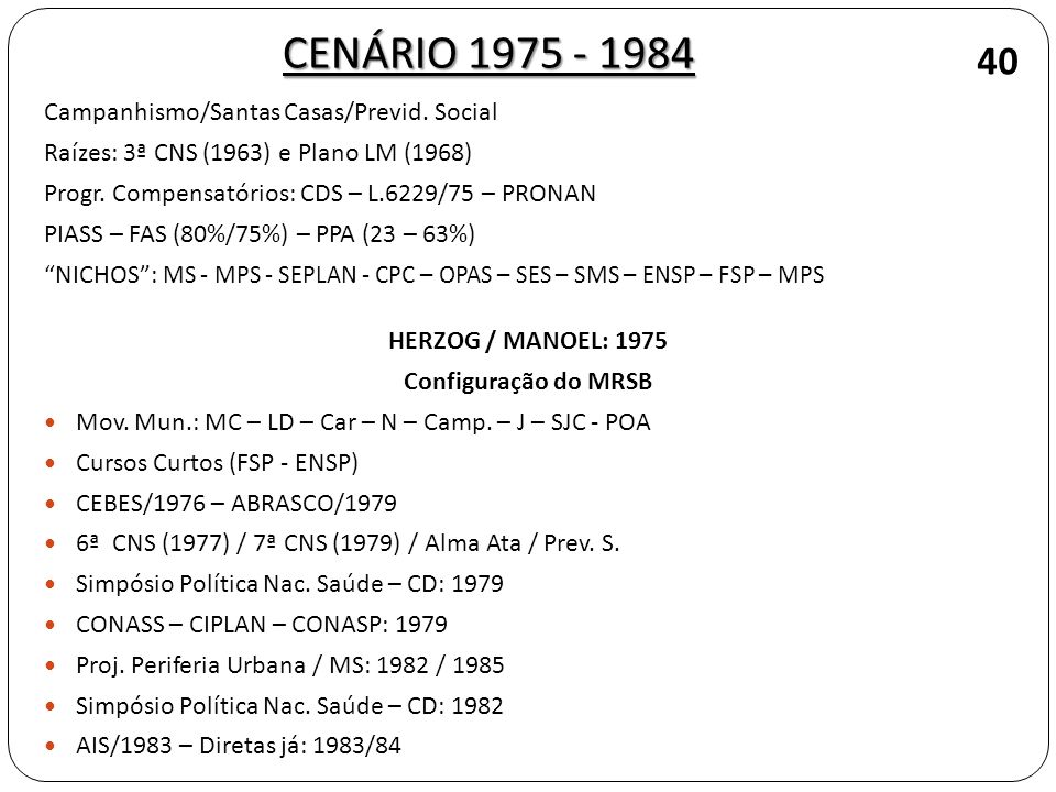 CENÁRIO 1975 - 1984 40 Campanhismo/Santas Casas/Previd. Social