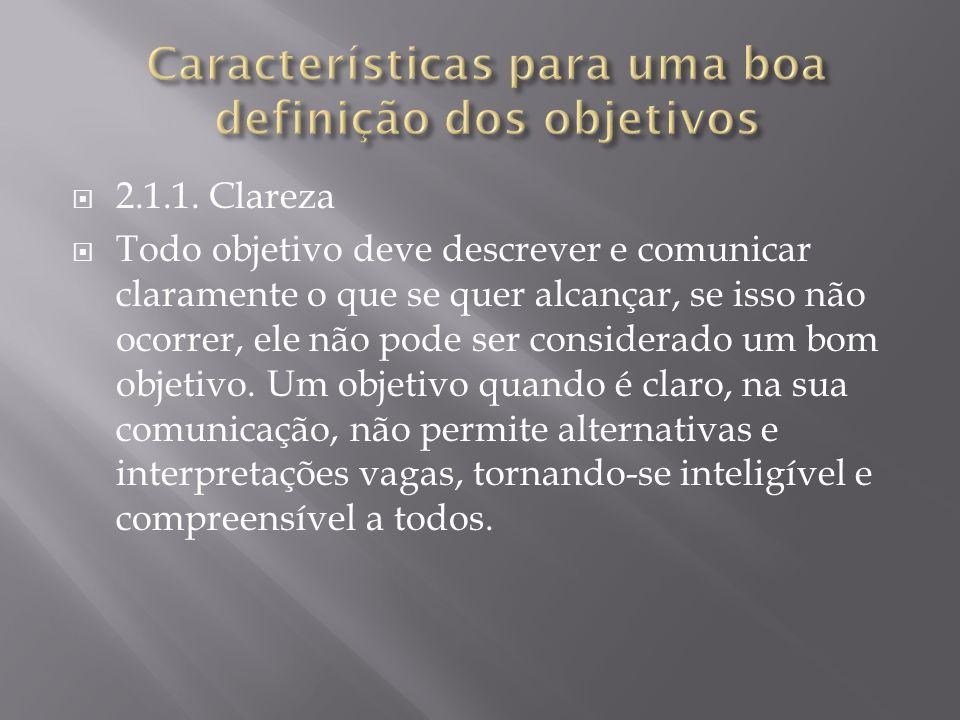 Características para uma boa definição dos objetivos
