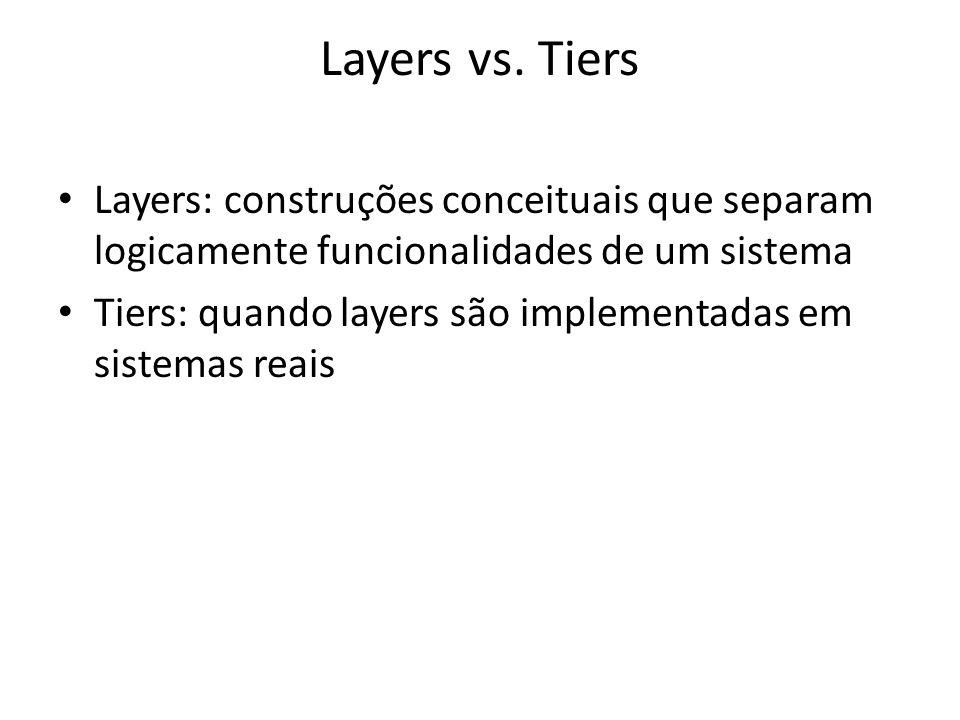 Layers vs. Tiers Layers: construções conceituais que separam logicamente funcionalidades de um sistema.