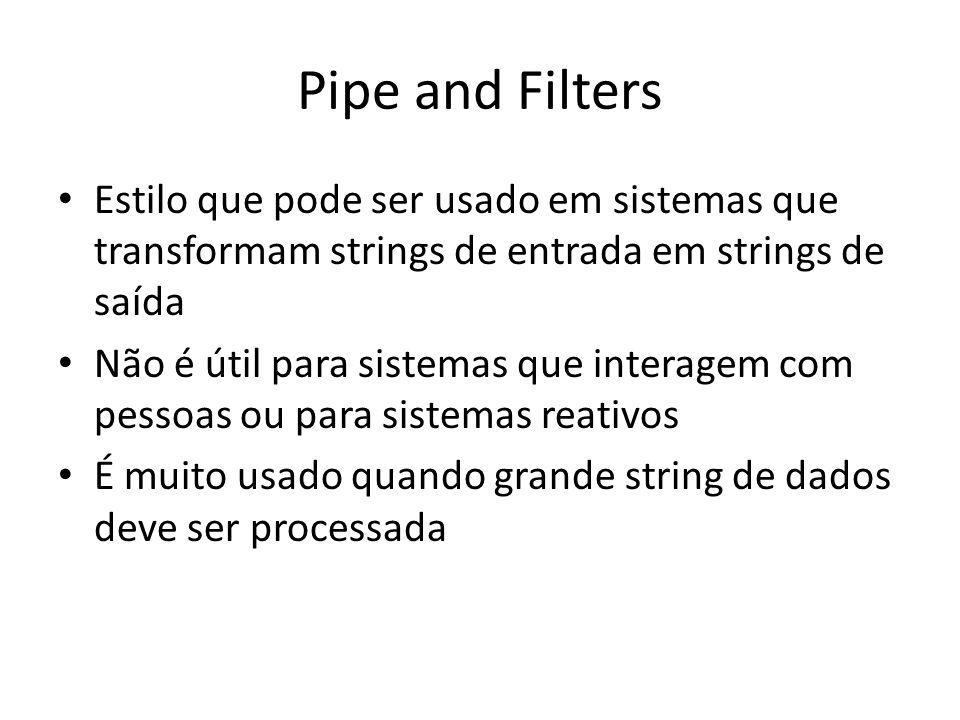Pipe and Filters Estilo que pode ser usado em sistemas que transformam strings de entrada em strings de saída.