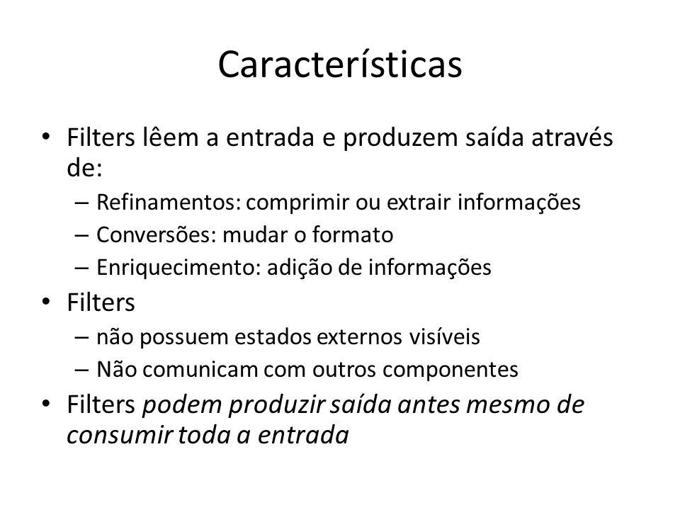 Características Filters lêem a entrada e produzem saída através de: