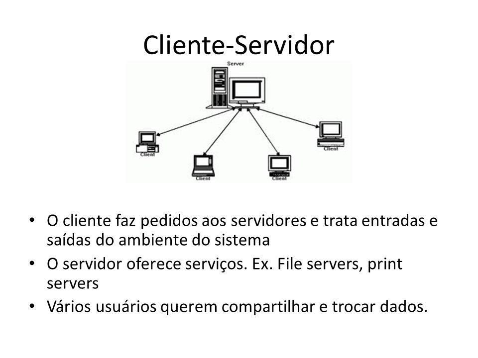 Cliente-Servidor O cliente faz pedidos aos servidores e trata entradas e saídas do ambiente do sistema.