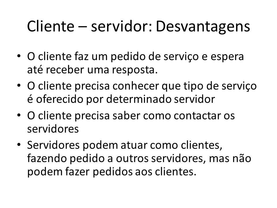 Cliente – servidor: Desvantagens