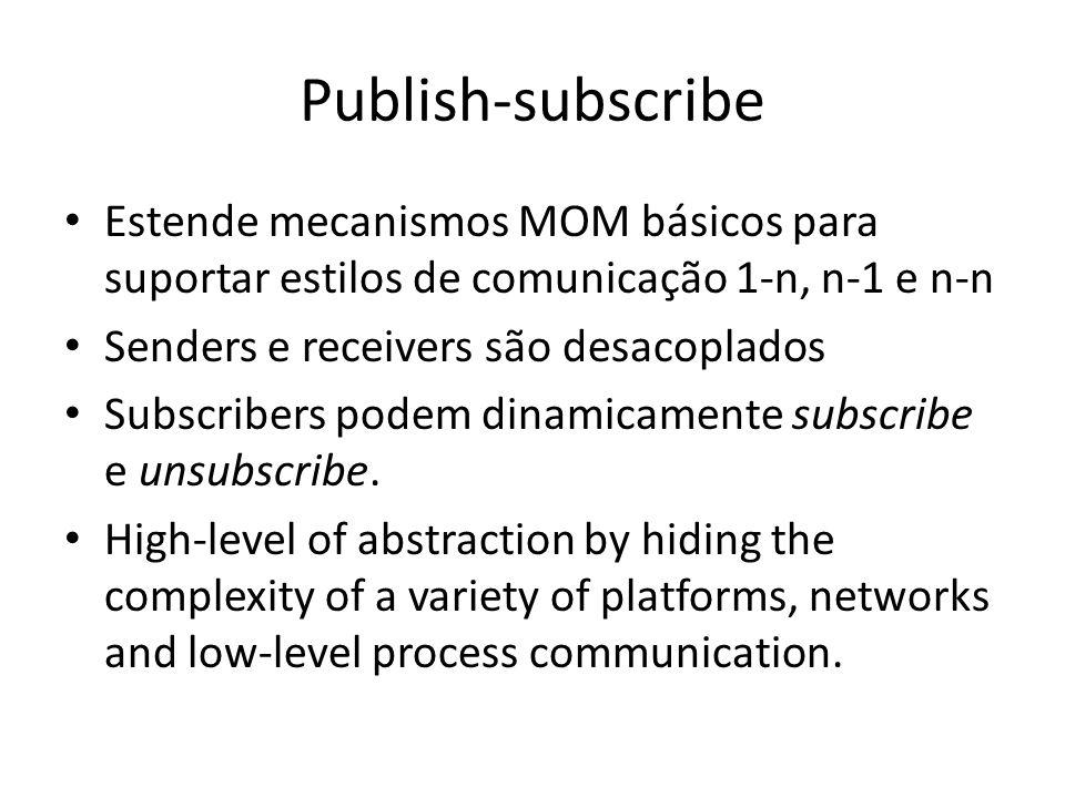 Publish-subscribe Estende mecanismos MOM básicos para suportar estilos de comunicação 1-n, n-1 e n-n.