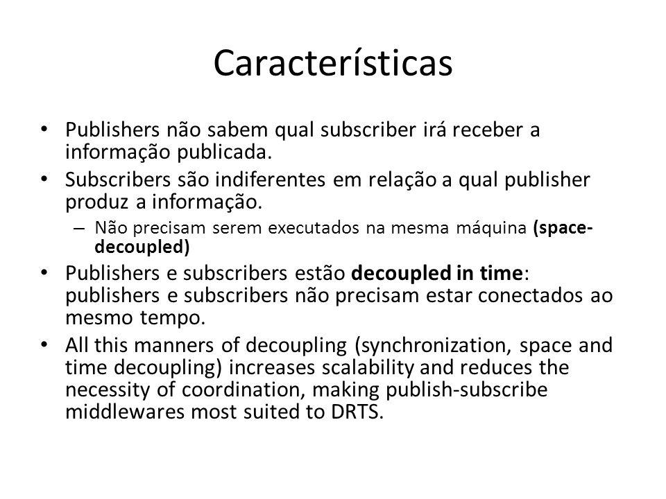 Características Publishers não sabem qual subscriber irá receber a informação publicada.
