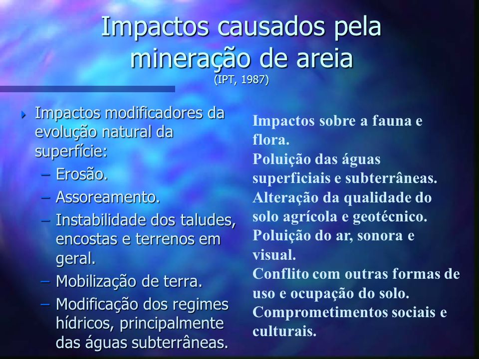 Impactos causados pela mineração de areia (IPT, 1987)