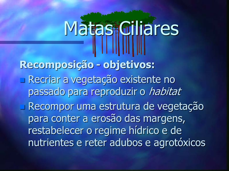 Matas Ciliares Recomposição - objetivos: