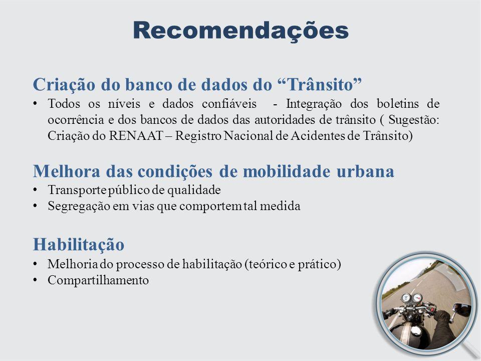 Recomendações Criação do banco de dados do Trânsito