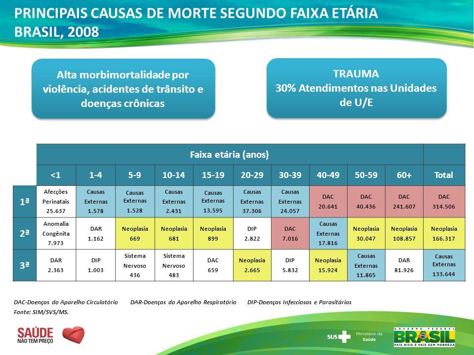 PRINCIPAIS CAUSAS DE MORTE SEGUNDO FAIXA ETÁRIA BRASIL, 2008
