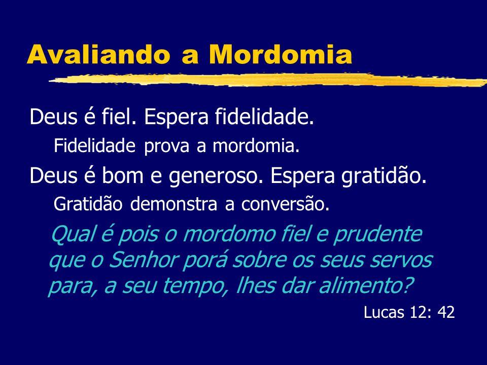 Avaliando a Mordomia Deus é fiel. Espera fidelidade.