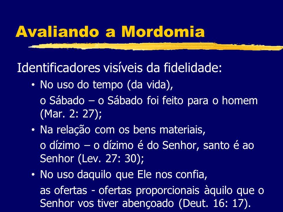 Avaliando a Mordomia Identificadores visíveis da fidelidade: