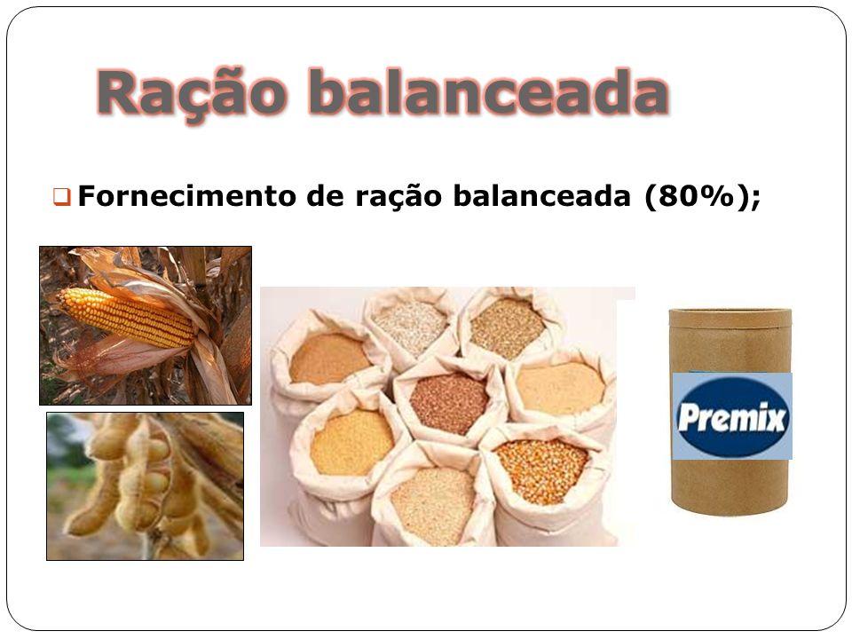 Ração balanceada Fornecimento de ração balanceada (80%);