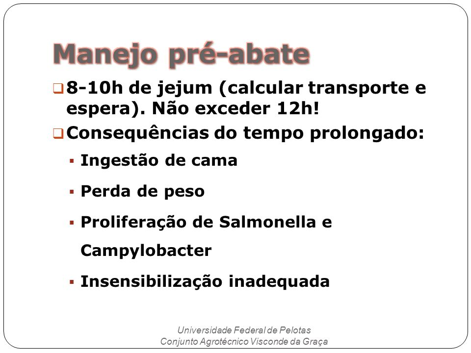 Manejo pré-abate 8-10h de jejum (calcular transporte e espera). Não exceder 12h! Consequências do tempo prolongado: