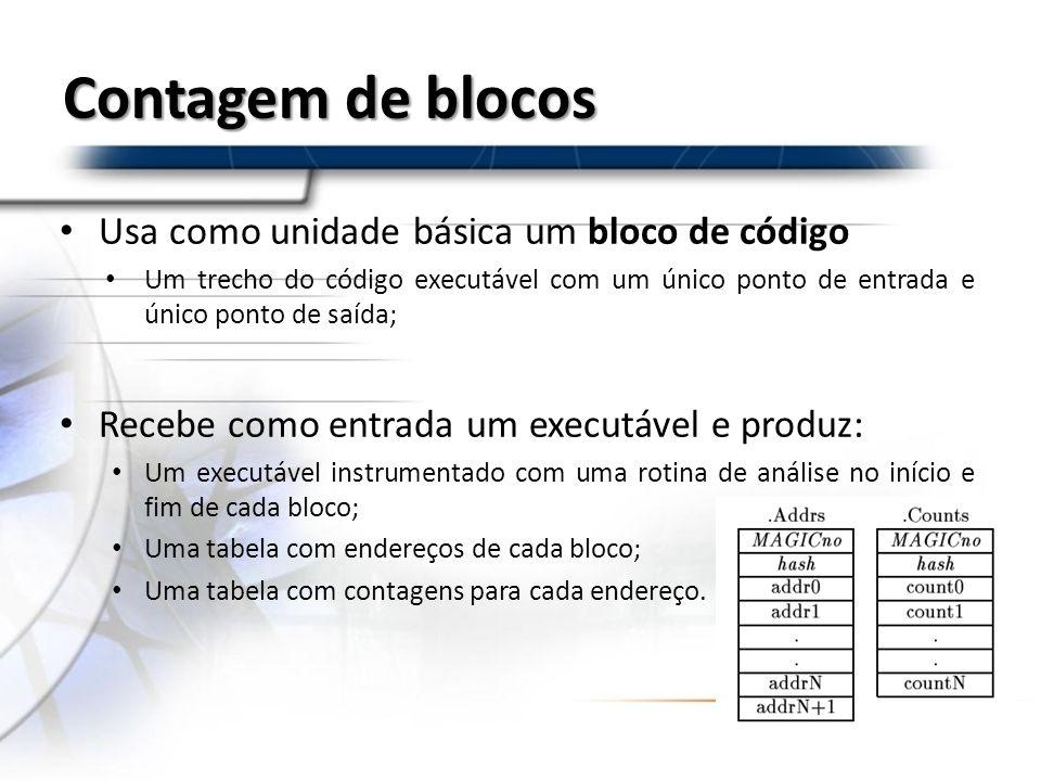 Contagem de blocos Usa como unidade básica um bloco de código