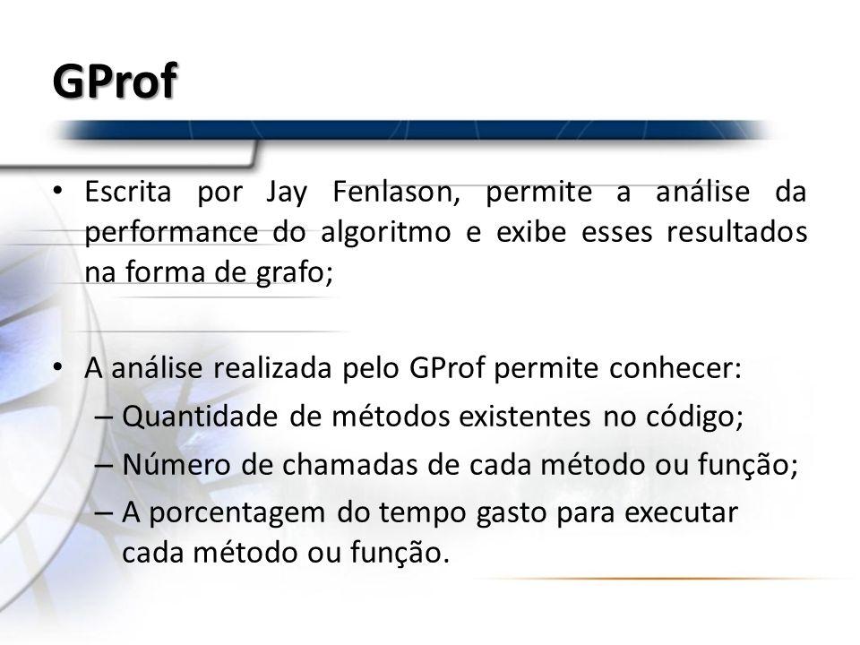 GProf Escrita por Jay Fenlason, permite a análise da performance do algoritmo e exibe esses resultados na forma de grafo;