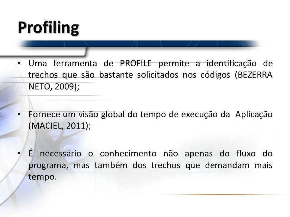 Profiling Uma ferramenta de PROFILE permite a identificação de trechos que são bastante solicitados nos códigos (BEZERRA NETO, 2009);