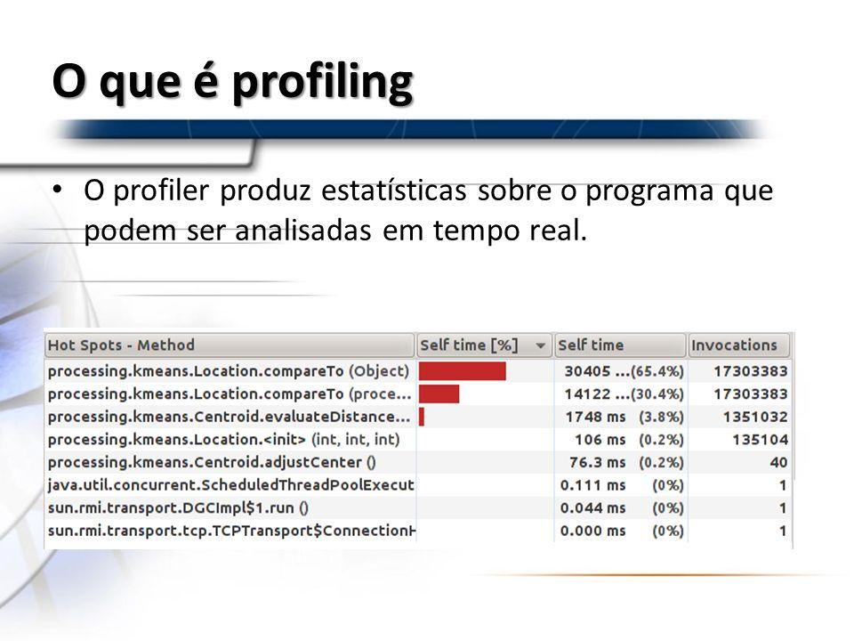 O que é profiling O profiler produz estatísticas sobre o programa que podem ser analisadas em tempo real.