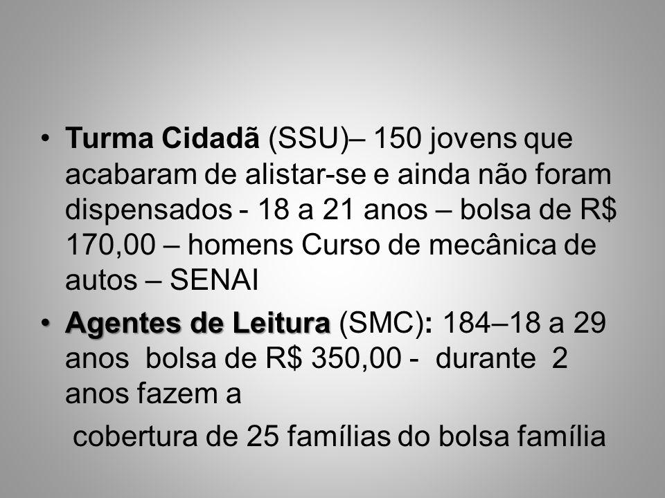 Turma Cidadã (SSU)– 150 jovens que acabaram de alistar-se e ainda não foram dispensados - 18 a 21 anos – bolsa de R$ 170,00 – homens Curso de mecânica de autos – SENAI