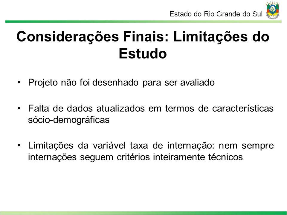 Considerações Finais: Limitações do Estudo