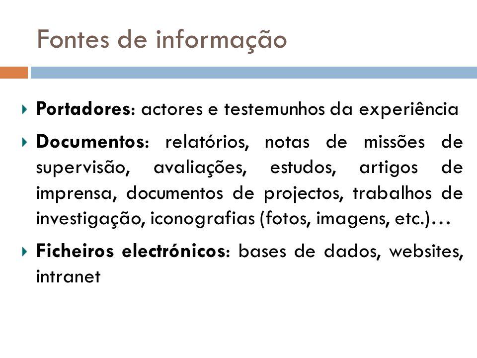 Fontes de informação Portadores: actores e testemunhos da experiência