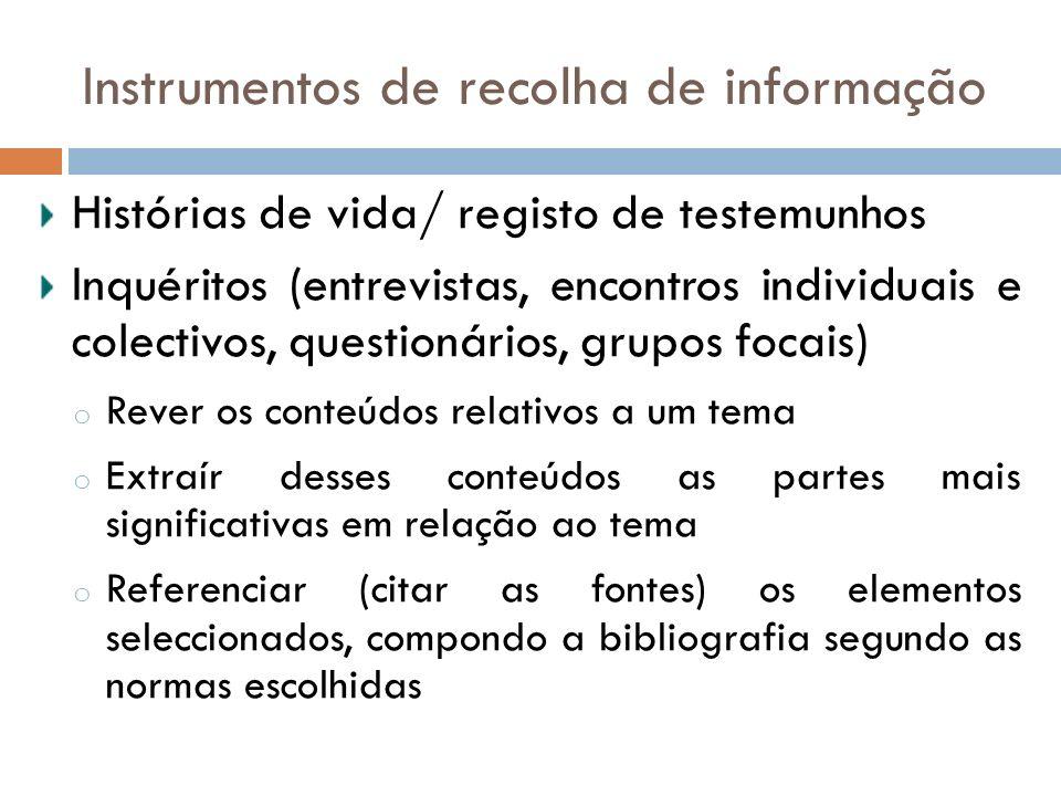 Instrumentos de recolha de informação