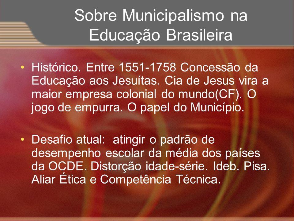 Sobre Municipalismo na Educação Brasileira