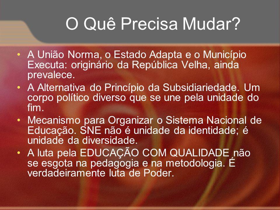 O Quê Precisa Mudar A União Norma, o Estado Adapta e o Município Executa: originário da República Velha, ainda prevalece.