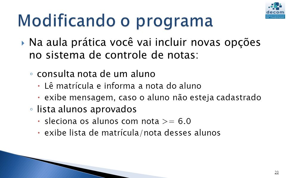 Modificando o programa