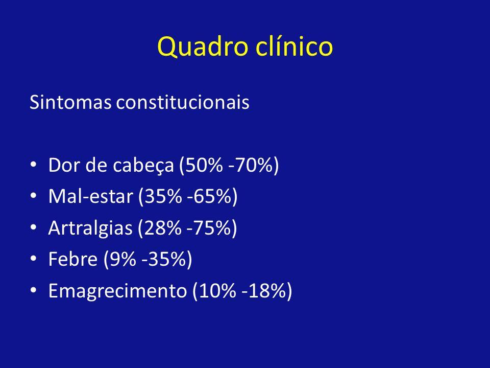 Quadro clínico Sintomas constitucionais Dor de cabeça (50% -70%)