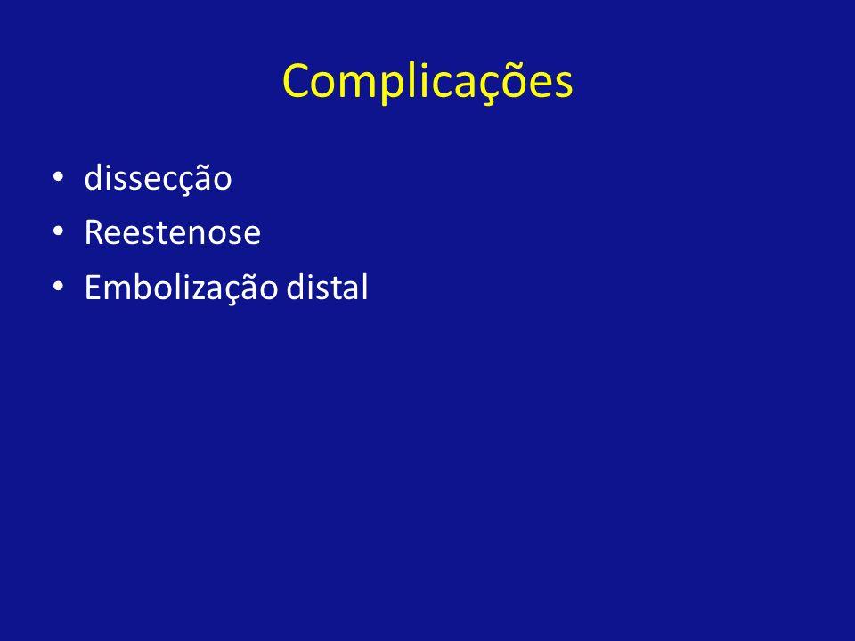 Complicações dissecção Reestenose Embolização distal